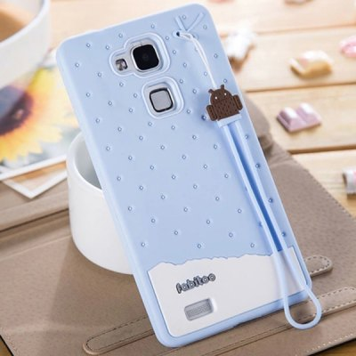 Fabitoo Lanyard Design Silicone Back Cover Case for Huawei Mate 7
