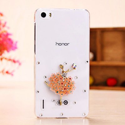 Fabitoo Diamante Ballet Girl Pattern PC Transparent Back Cover Case for Huawei Honor 6