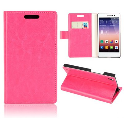 Crystal Pattern Style Full Body PU Leather Case with Stand Card Holder for Huawei Ascend P7
