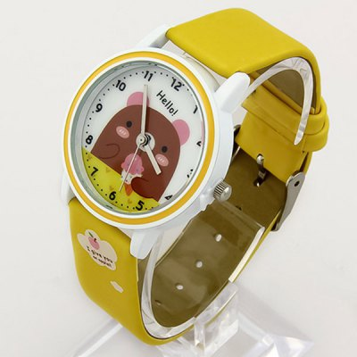 Cute Bear Analog Quartz Watch Round Dial Leather Strap for Women Men