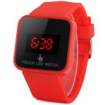 LED Touch Screen Watch Red Subtitles Rectangle Dial Rubber Band