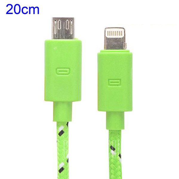 20cm Woven Design 8pin Data Sync-Charging Cable for iPhone 6-6 Plus iPhone 5 iPad Mini