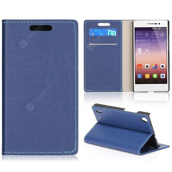 Crazy Horse Texture Full Body PU Leather Case Stand Card Holder Huawei Ascend P7 BLUE