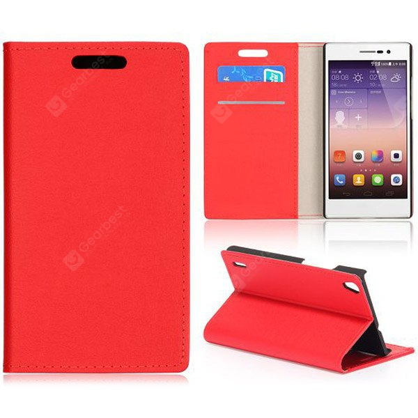 Crazy Horse Texture Full Body PU Leather Case Stand Card Holder Huawei Ascend P7 RED