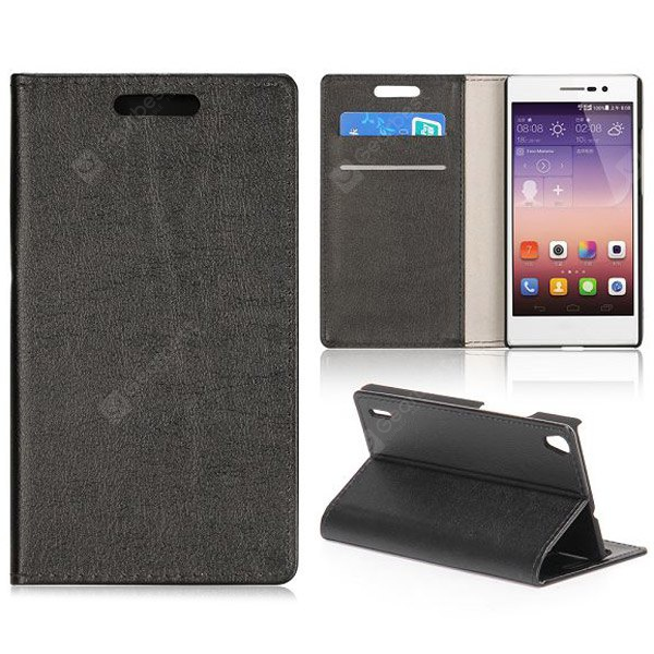 Crazy Horse Texture Full Body PU Leather Case Stand Card Holder Huawei Ascend P7 BLACK