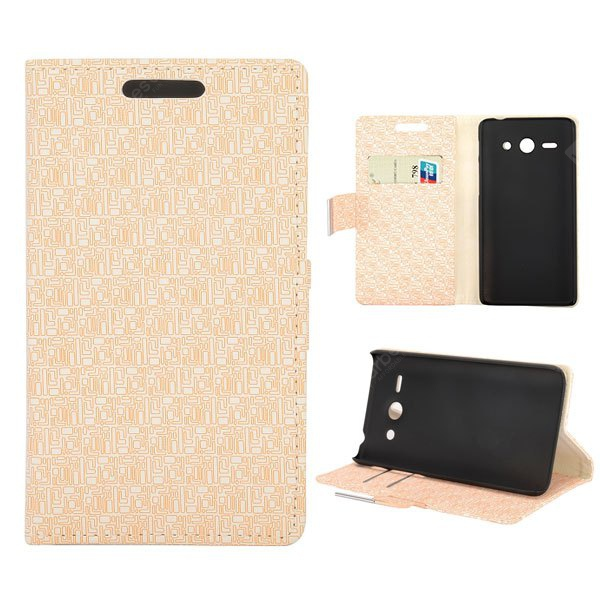 Maze Texture Full Body PU Leather Case Credit Card Slot Stand Huawei Ascend Y530