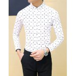 Buy Causal Turn-down Collar Personality Plaid Print Slimming Solid Color Long Sleeves Men's Shirt 3XL