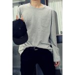 Buy Stylish Round Neck Loose Fit Solid Color One Pocket Long Sleeve Polyester T-Shirt Men M LIGHT GRAY
