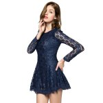 Ladylike Style Solid Color Scoop Neck Lace Long Sleeves Slimming Burnt-Out Women's Dress deal