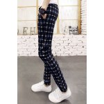 Buy Classic Plaid Print Lace-Up Slimming Pocket Embellished Narrow Feet Men's Cotton Blend Pants 2XL DEEP BLUE