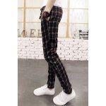 Buy British Style Lace-Up Classic Checked Print Slimming Narrow Feet Men's Cotton Blend Pants M