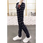Buy British Style Lace-Up Classic Checked Print Slimming Narrow Feet Men's Cotton Blend Pants 2XL DEEP BLUE