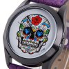 Y120 Unisex Analog Quartz Watch Skull Pattern Leather Strap for sale