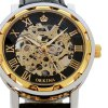 Orkina Men Watch Hollow Out Automatic Mechanical Wristwatch Leather Band for sale