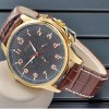 Mce Working Sub - dials Day Date Function Automatic Mechanical Watch Leather Band for Men deal