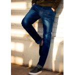 Buy Trendy Slimming Bleach Wash Zipper Fly PU Leather Pocket Embellished Narrow Feet Men's Jeans 28 DEEP BLUE