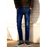 Buy Trendy Slimming Bleach Wash Zipper Fly PU Leather Pocket Embellished Narrow Feet Men's Jeans 36 DEEP BLUE