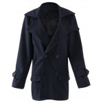 Buy Stylish Turndown Collar Slimming Solid Color Buttons Design Long Sleeve Woolen Coat Men 170 PURPLISH BLUE
