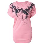 cheap Fashion Scoop Neck Short Sleeves Feather Print Cotton Blend Women's Spring T-Shirt