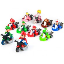 10pcs / Set Cute Super Mario Bros Kart Pull Back Car PVC Action Figure Toy