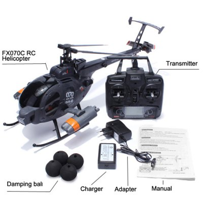 FX070C MD500 Scale Flybarless 6 Axis Gyro 2.4G 4 CH Remote Control Helicopter Single Propeller Copter
