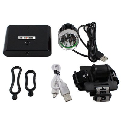 Фотография Kinfire KB  -  3 CREE XM  -  L T6 Water Resistant LED USB Cycling Headlight with 9600mAh Power Bank