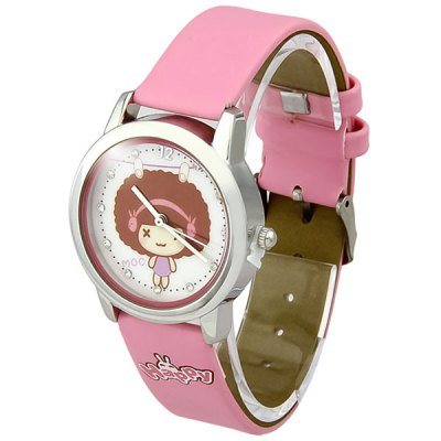 Women Girls Quartz Watch with Cartoon Pattern Round Dial Leather Band