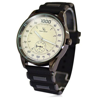 V6 Big Dial Quartz Watch Outdoor Sports Wristwatch with Rubber Strap for Men
