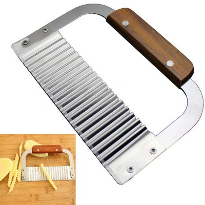 Гаджет   Wooden Handle Corrugated Knife Scrapingn Peel Potato Cutter Slicer Kitchen & Dining