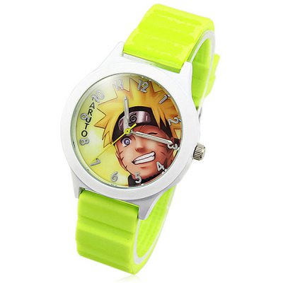 Fashional Round Dial Naruto Pattern Quartz Watch Rubber Band for Men