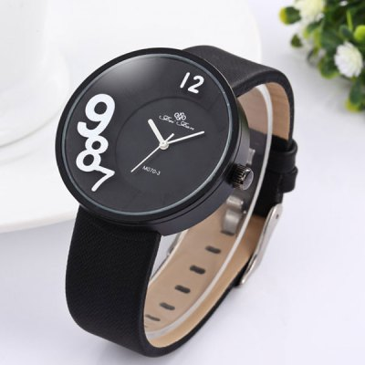 Фотография Feifan Round Dial Leather Strap Unisex Quartz Watch with 3D Numbers