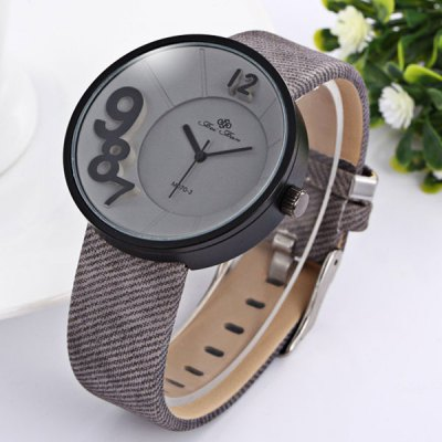 ФОТО Feifan Round Dial Leather Strap Unisex Quartz Watch with 3D Numbers