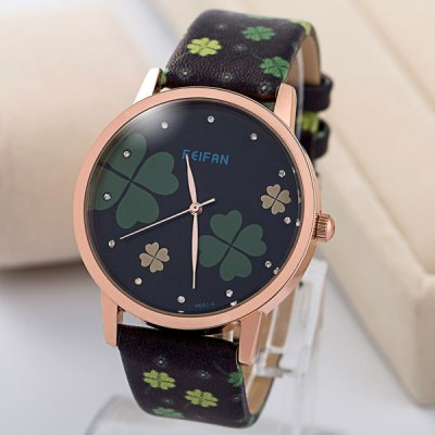 Гаджет   Feifan Four - leaf Clover Round Dial Leather Strap Unisex Quartz Watch Unisex Watches