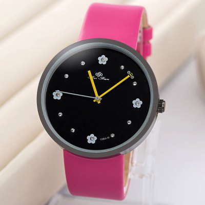 Feifan Diamond Quartz Watch with Flower Round Dial Leather Band for Women