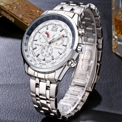 ФОТО 3025M Luminous Steel Band Quartz Watch with Water Resistance for Male