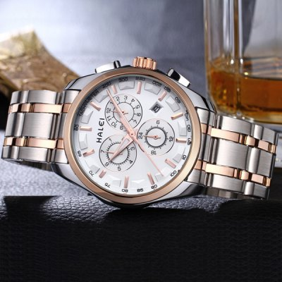 3043M Luminous Steel Band Quartz Watch with Water Resistance Calender for Male