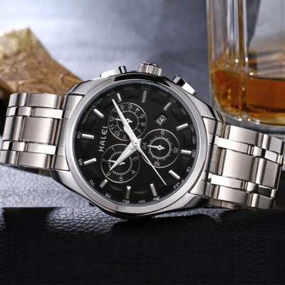 ФОТО 3043M Luminous Steel Band Quartz Watch with Water Resistance Calender for Male