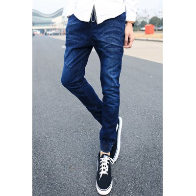 Гаджет   Slimming Stylish Lace-Up Bleach Wash Splicing Design Beam Feet Denim Harem Pants For Men Pants