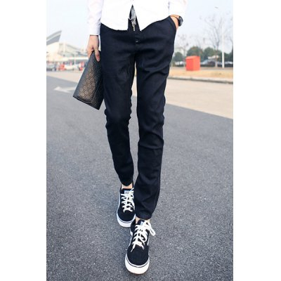 Гаджет   Slimming Stylish Lace-Up Sutures Design Beam Feet Denim Harem Pants For Men Pants