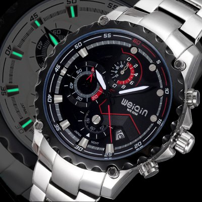 Гаджет   Weiqin Functional Sub - dial Sports Racing Watch with Steel Band Calender Stopwatch for Men Men