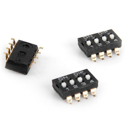 DC 12V 50mA 4 Position 8Pin 2.54mm Pitch DIP Switches for DIY  -  10PCS