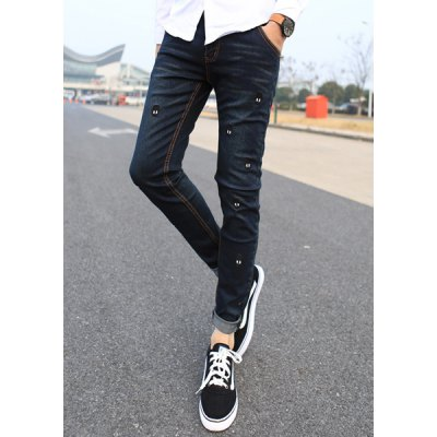 Гаджет   Slimming Stylish Skulls Sutures Design Narrow Feet Jeans For Men Pants
