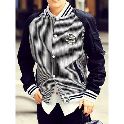 Гаджет   Stylish Stand Collar Letters and Stripes Print Slimming Embroidery Long Sleeves Men