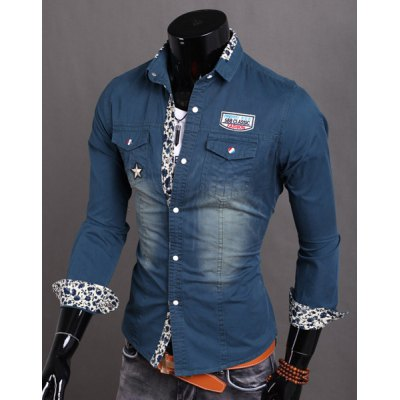 Stylish Turn-down Collar Floral Splicing Slimming Applique Long Sleeves Men