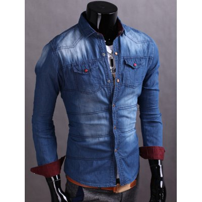 ФОТО Laconic Turn-down Collar Slimming Color Splicing Double Pocket Long Sleeves Men