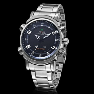 Гаджет   WEIDE Steel Band Sports Watch with Contrast Color Dial for Man  -  Silver Band Men