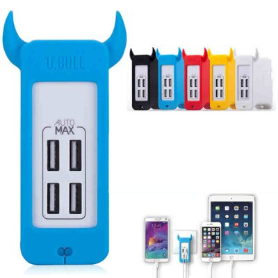 MOMAX U Bull Utility EU Plug Four USB Port 2.4A Wall Charger 25W Power AdapterChargers &amp; Cables<br>MOMAX U Bull Utility EU Plug Four USB Port 2.4A Wall Charger 25W Power Adapter<br><br>Type: Power Adapter<br>Brand: MOMAX<br>Compatibility: Universal<br>Special Functions: Multi-Output, Includes Stand<br>Input: 100 - 240V 50 / 60Hz 1.2A<br>Output: 5V 5.0A 25W ( total power output )<br>Color: Red, Yellow, White, Black, Blue<br>Product weight: 0.170 kg<br>Package weight: 0.216 kg<br>Product size (L x W x H) : 9.9 x 5.9 x 3.4 cm / 3.89 x 2.32 x 1.34 inches<br>Package size (L x W x H): 16 x 13 x 6 cm / 6.29 x 5.11 x 2.36 inches<br>Package Contents: 1 x Power Adapter, 1 x Chinese and English User Manual