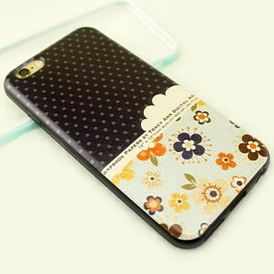 ФОТО Stylish Flower Pattern TPU and PU Material Back Cover Case for iPhone 6 Plus  -  5.5 inch