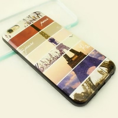 Фотография Stylish Iron Tower Pattern TPU and PU Material Back Cover Case for iPhone 6 Plus  -  5.5 inch