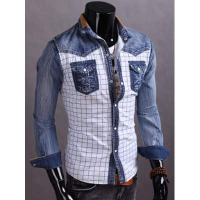 Гаджет   Trendy Color Block Turn-down Collar Slimming Plaid Splicing Long Sleeves Men